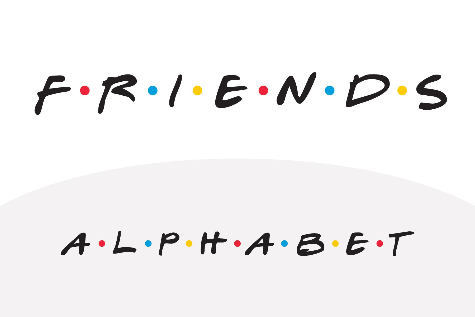 printable alphabet of the friends tv show font