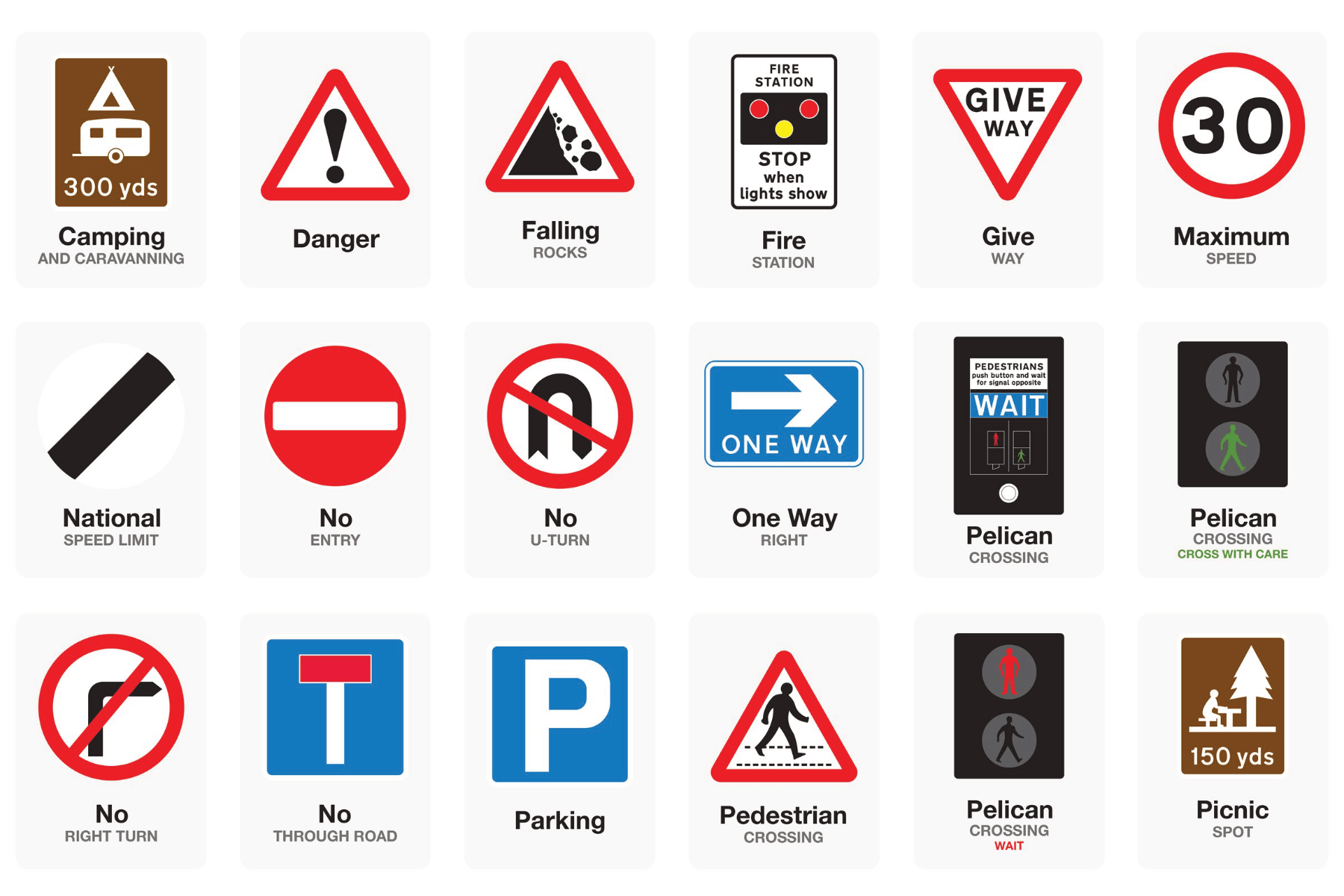basic uk road signs