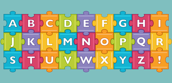 colourful jigsaw letters to print