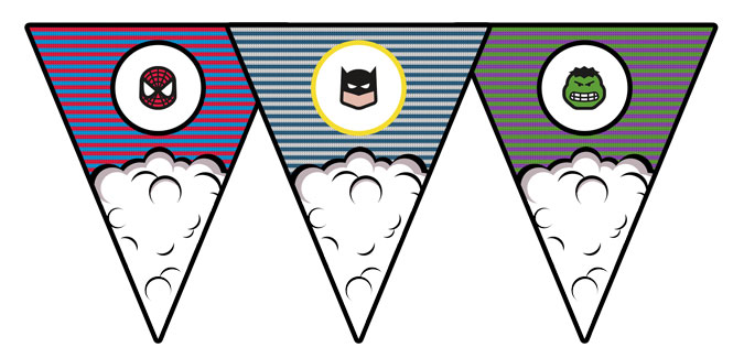 superhero comic book bunting free printable