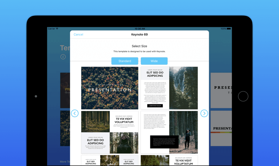 pre-made templates for keynote