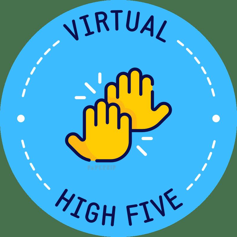 virtual high 5 blue sticker