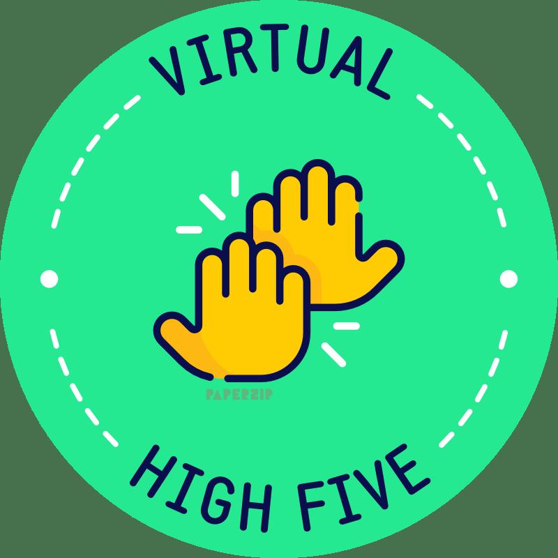 virtual high 5 green sticker