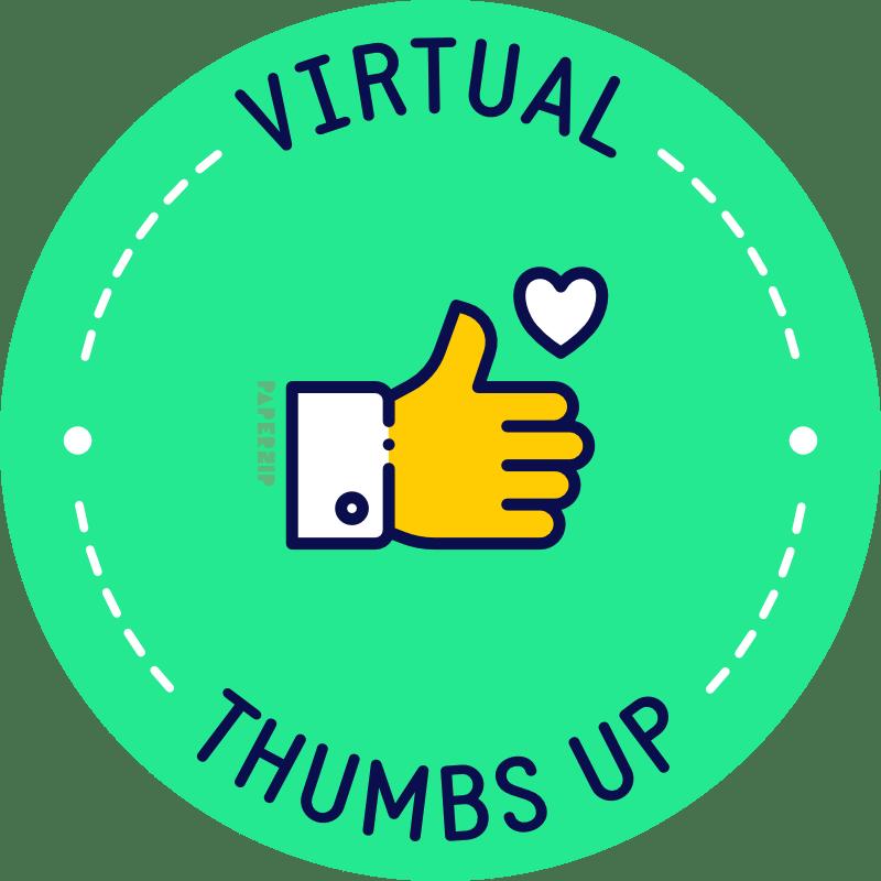 virtual thumbs up green sticker