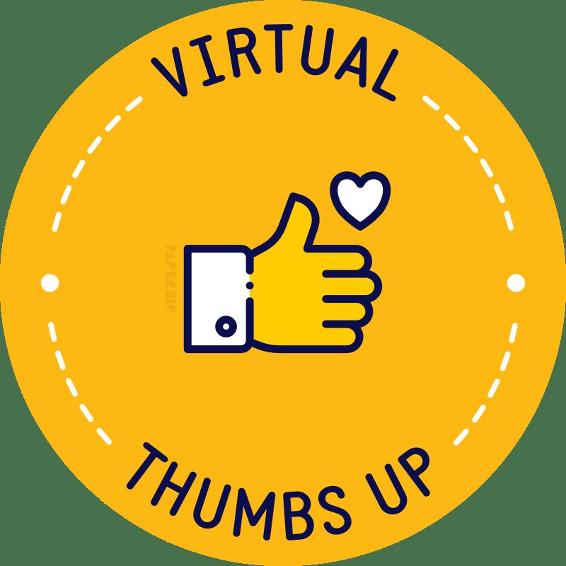 virtual thumbs up yellow sticker