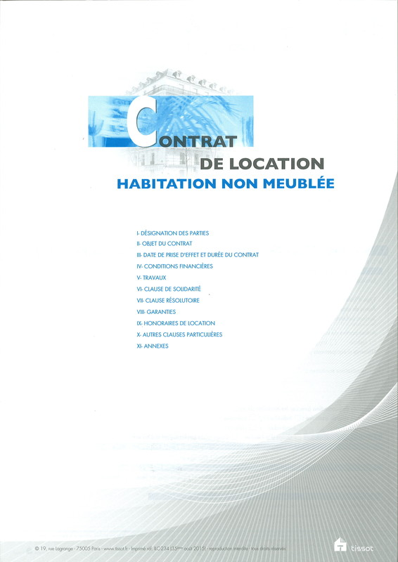 Contrat De Bail Pour Location Non Meuble De Marque Tissot