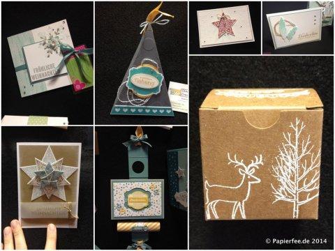 Geschenkschachtel, Karte, Weihnachten, Zauber der Weihnacht, Weiße Weihnacht, Four Feathers