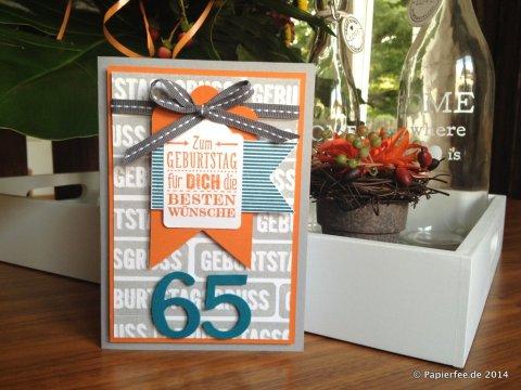 Männerkarte, Stampin'Up!, 65. Geburtstag, Schiefergrau, Orangentraum, Petrol,