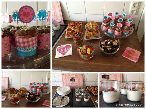 Workshop Buffet, Muffins, Mohnhörnchen, Pizzaschnecken, Dickmann-Dessert mit Himbeeren