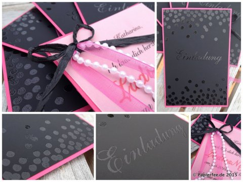 Stampin' Up!, Einladung, Ladies Night, Tafelpapier, Wassermelone, Embossing, Dotty Angles, Vellum, Glitzersteine