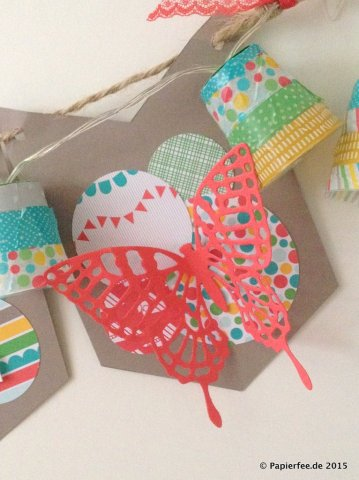 "Stampin'Up! Wimpelkette, Taupe, Lichterkette, Washitape, Schmetterlingsframelits. Home, Designerpapier im Block ""Bunte Party"""