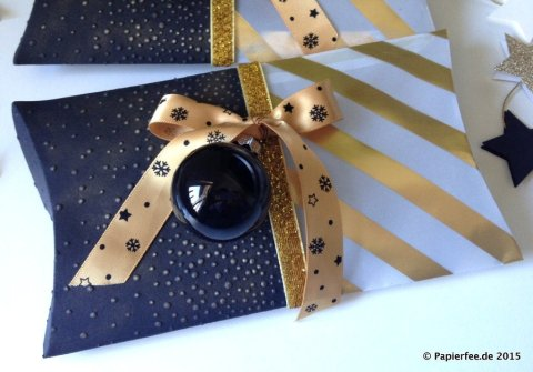 Stampin'Up! Pillowbox, Gold, Schwarz, Designerpergament, Gastgeschenk, Herbst-/Winterkatalog 2015