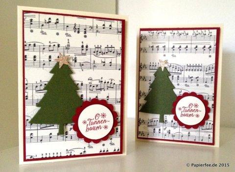 Stanpin'Up! Weihnachtskarte, Framelits Formen Tannentraum, Stempelset O Tannenbaum, Glutrot, Moosgrün