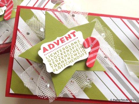 Stampin'Up! Liftverpackung, Weihnachten, Designerpapier Fröhliche Feiertage, Zuckerstange, Dekoratives Etikett, Glutrot, Olivgrün Weiß