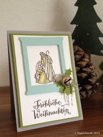 Stampin'Up! Weihnachtskarte, Gesegnete Weihnacht, Fröhliche Weihnachten, Thinlits Formen Trautes Heim, Olivgrün, Aquamarin, Espresso