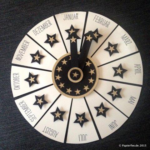 Stampin'Up! Silvester, Uhr, Countdown, Dekoration, Schwarz, Gold, Vanille, Sterne