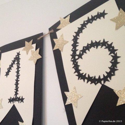 Stampin'Up! Silvester, Girlande, Wimpelkette, Dekoration, Schwarz, Gold, Vanille, Sterne