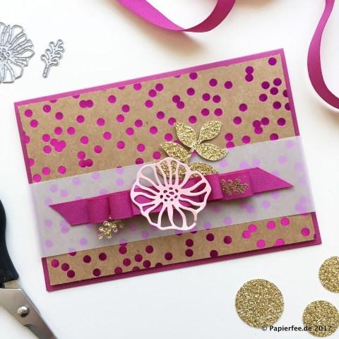 Stampin'Up!, Karte, Designerpapier Metallic-Glanz, Thinlits Kreative Vielfalt.