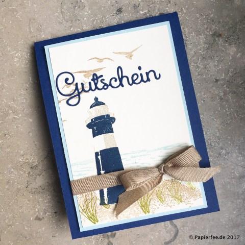 Stampin'Up! Gutscheinkarte, Pop-Up-Panel-Karte, Geburtstagskarte, Maritime Karte, Stempelset Durch die Gezeiten, Geschenkband Savanne