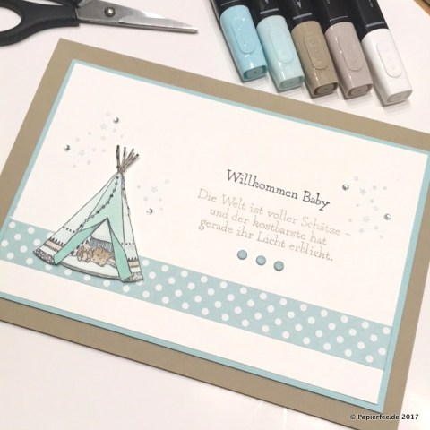 Stampn'Up! Stampin'Blends, Babykarte, Stempelset Little One, Karte zur Geburt Selbermachen mit Stampin'Up!