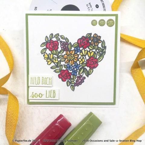 "Stampin'Up! Stempelset ""Blütentraum"", Stempelset ""Heart Happiness"", Frühjahr-/Sommerkatalog 2018, Occasions Catalog 2018, Stampin'Blends"