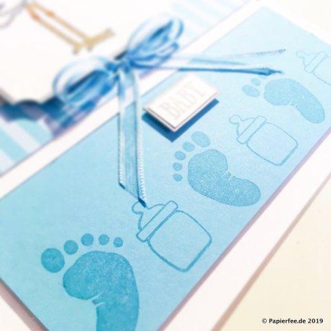 """Stampin'Up! Babykarte, Karte zur Geburt basteln, Karte für einen Jungen, Frühjahrskatalog 2019, Storch, Stempelset """"Precious Delivery"""", Stempelset """"First Steps"""", Designerpapier in Babyblau"""