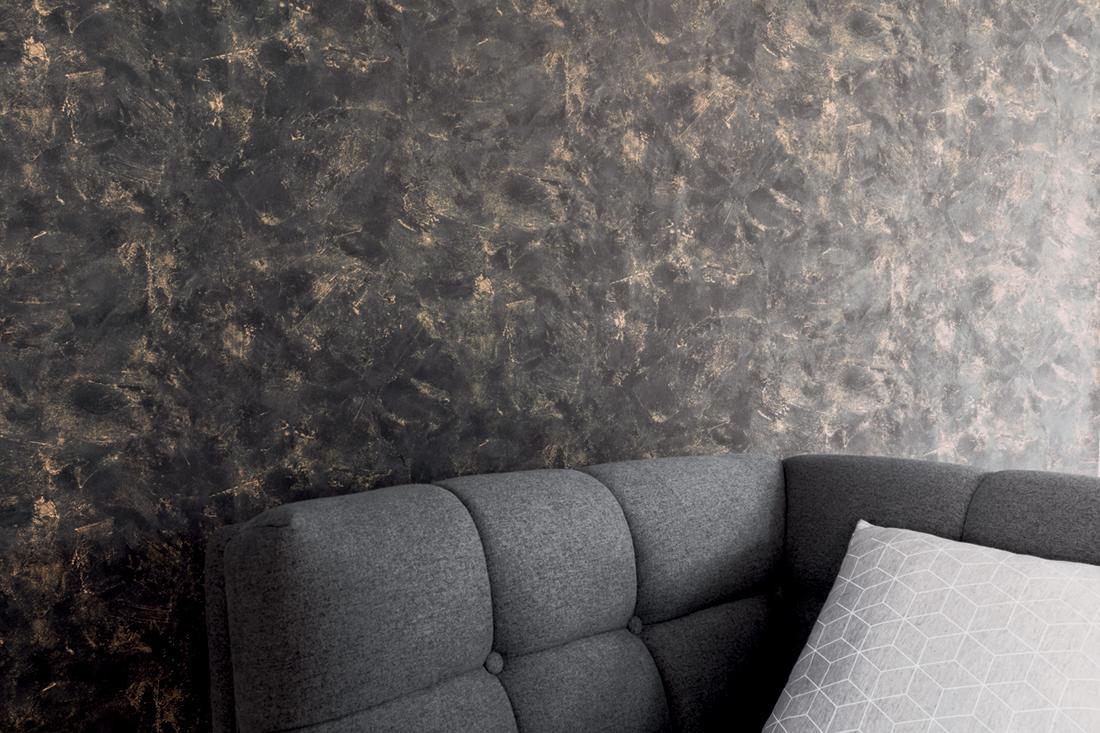 papier peint effet beton noir or