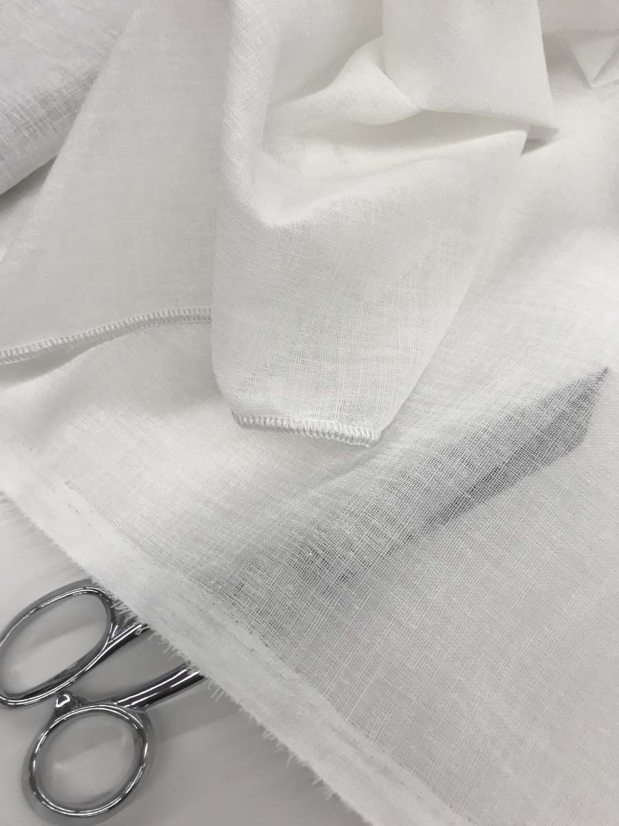 tissu voilage facon lin bisso blanc casse