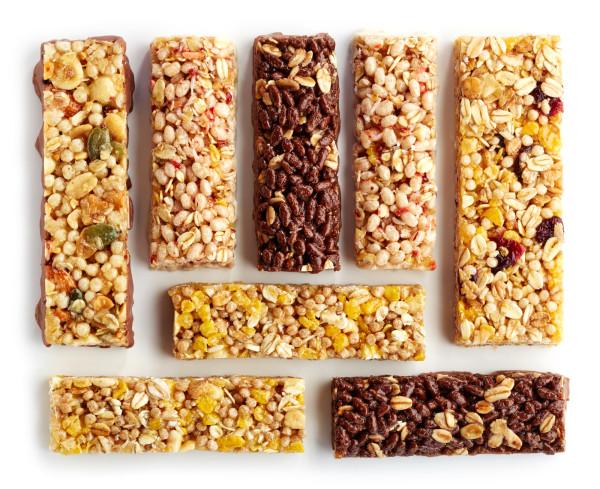 Various granola bars isolated on white background