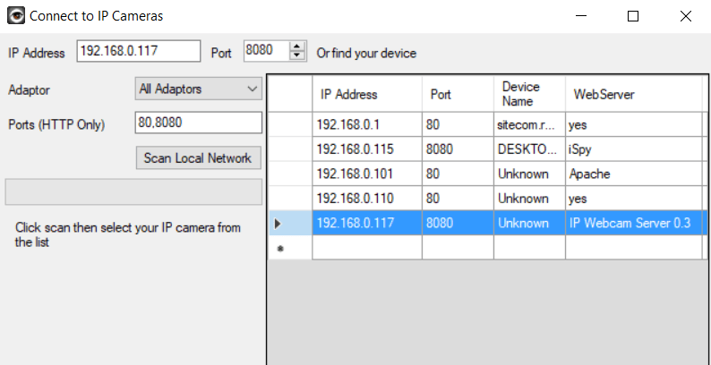 select webcam ip adres
