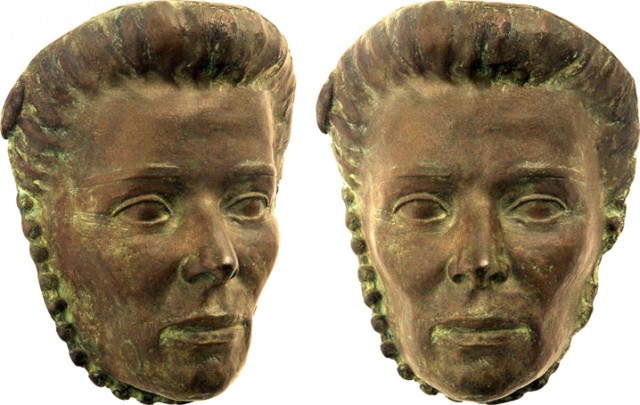 Frances Rich's Mask of Katherine Hepburn, in bronze