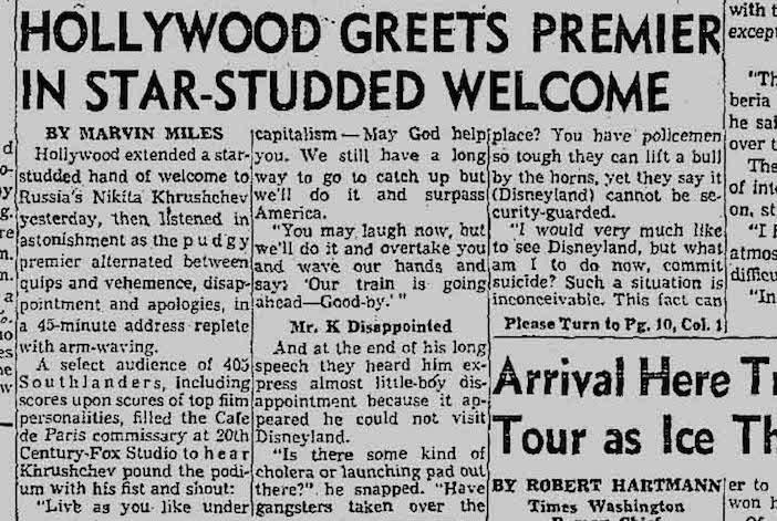 From the Los Angeles Times-- one of hundreds of front-page newspaper stories about Skouras' coup to invite the Soviet premier to his studio