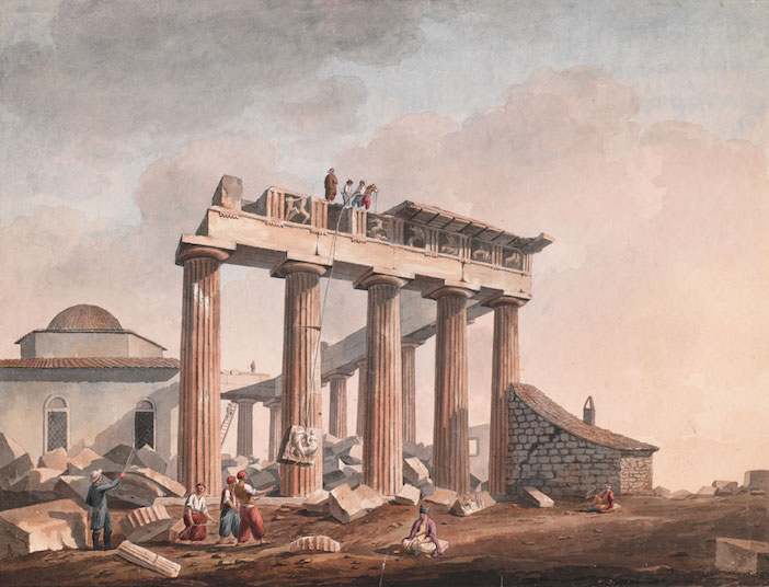 Removal of Sculptures from the Parthenon by Lord Elgin's Men, after 1801, Edward Dodwell and/or Simone Pomardi; watercolor. The Packard Humanities Institute