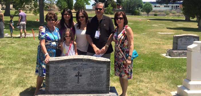 The Manos family from Chicago visited and paid tribute to their great uncle, whose name appears upon a tombstone dedicated to Cretans who died in the Castle Gate Mine Explosion in 1924.