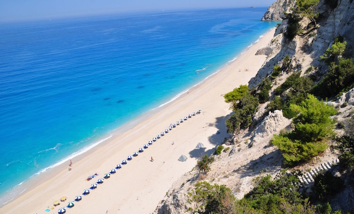 Egremni Beach on the island of Lefkada before the earthquake