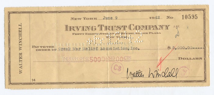 Walter Winchell's $5000 check to Greek War Relief (Gregory C. Pappas collection)