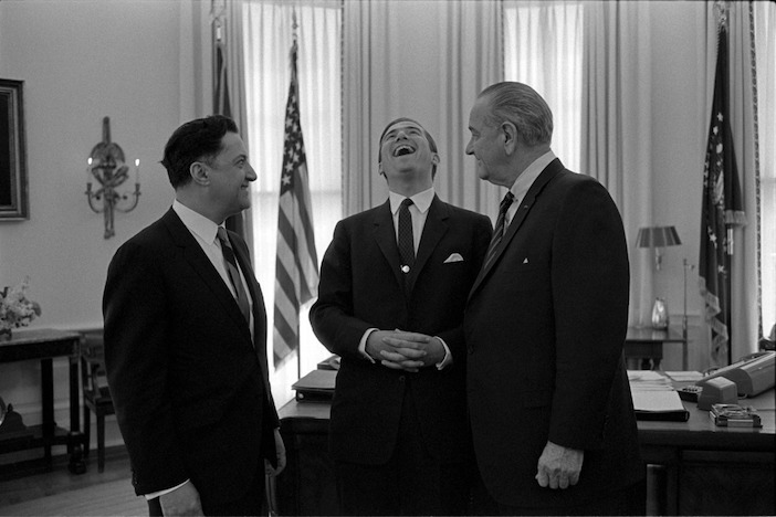 White House aid Mike Manatos, King Constantine of Greece and President Johnson.