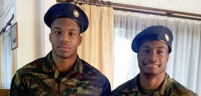 Photo of the Day: Even NBA Stars Must Serve in the Greek Military; Giannis and Thanassis Antetokounmpo Appear for Duty