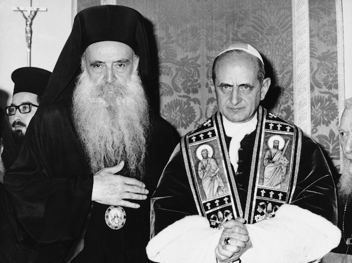 Pope Paul VI of the Roman Catholic Church and  Patriarch Athenagoras of Constantinople at the first meeting between leaders of the split church since the East-West Schism of 1054.