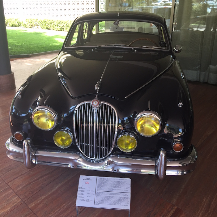 One of many vintage cars on display on the grounds of the Astir Palace
