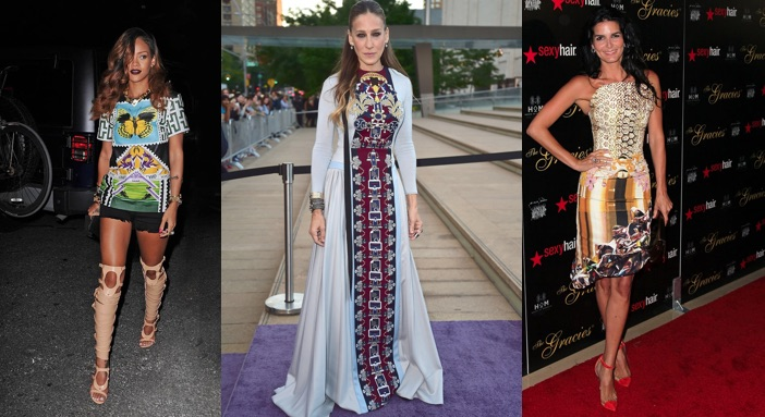 Rihanna, Sara Jessica Parker and Angie Harmon wearing Mary Katrantzou dresses.