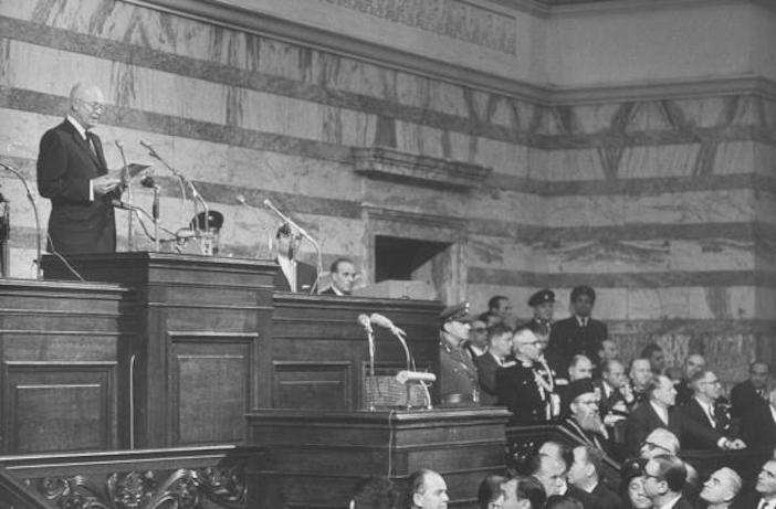 President Dwight D. Eisenhower speaking to the Greek Parliament.