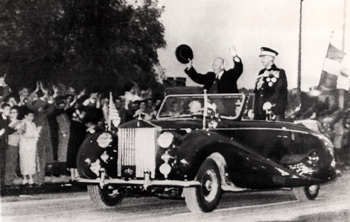 U.S. President Dwight Eisenhower and King Paul of Greece Standing in Convertible Car, Athens, Greece, 1959