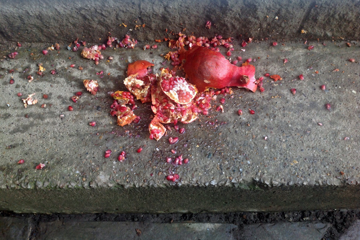 Smashing a pomegranate on the ground is a common tradition throughout Greece to ring in the New Year.