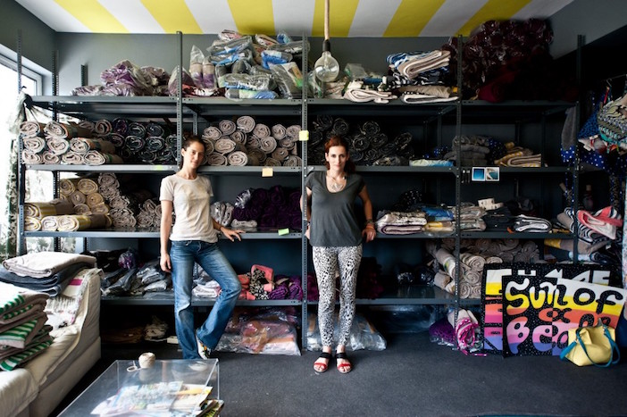 Melina Pispa and Ellie Rountou at their showroom in Athens