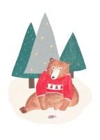 Weihnachtsbär-Norwegerpullover-Winterillustration-Waldleben