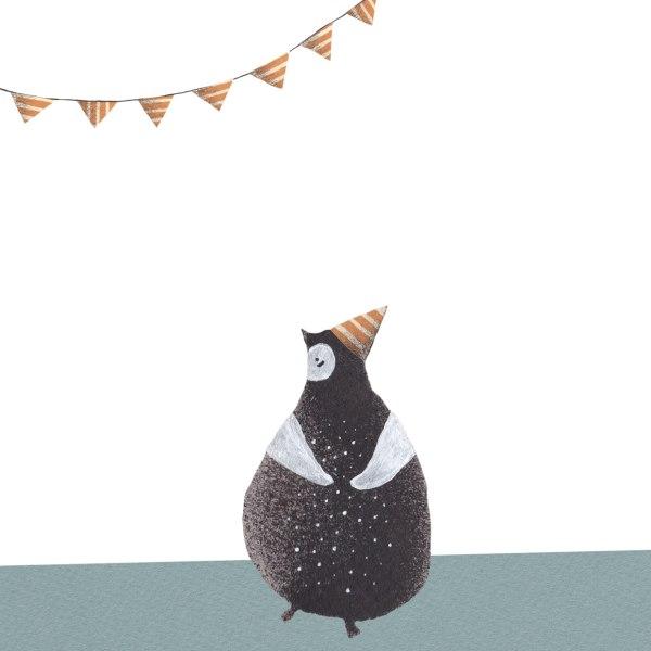 Pinguinklamauk-Geburtstagkarte-Pinguinillustration