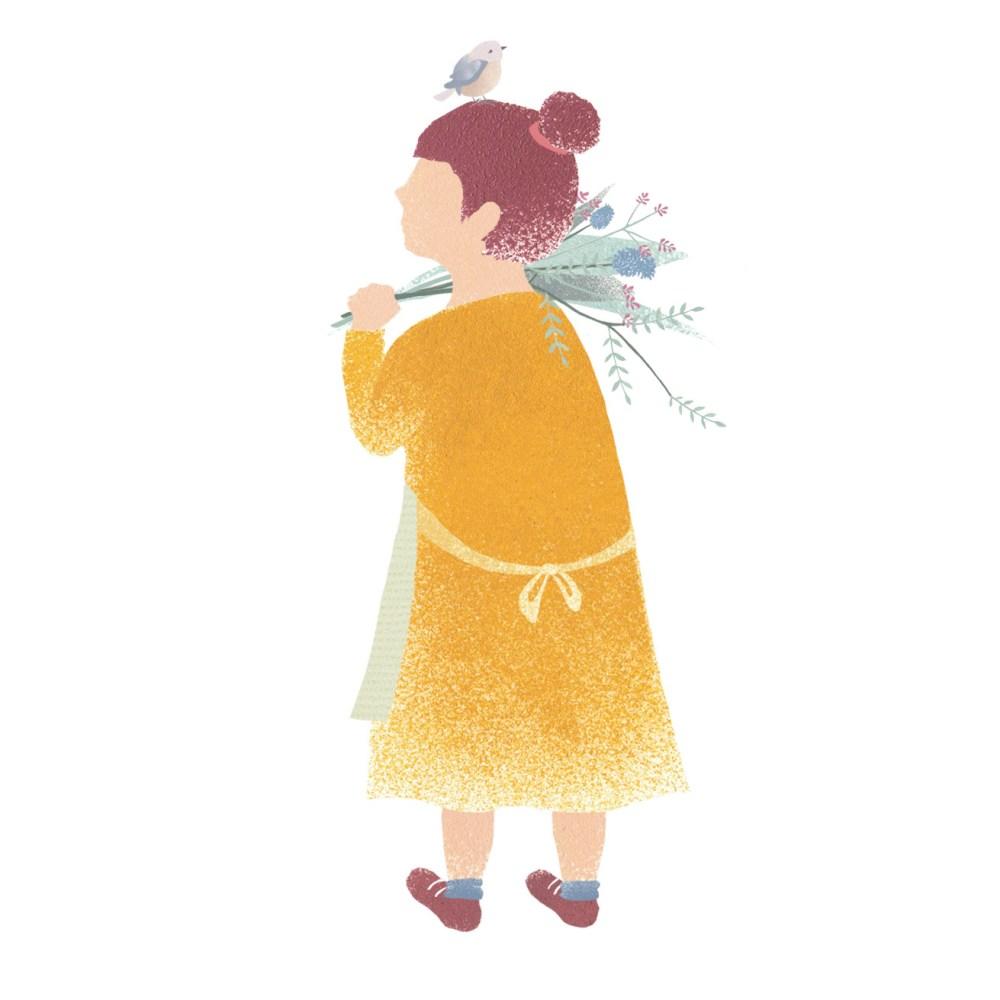 Blumenmädchen-Mädchenillustration-Frühlingskind