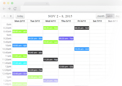 Calendar view of the practice manager