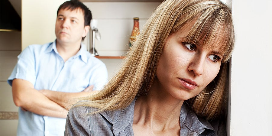 Angry couple in marital distress